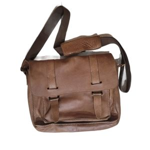 Roots Brown Leather Messenger Crossbody Laptop Bag